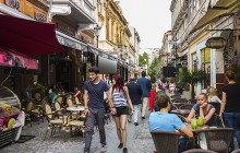 25 Jun 2014, Bucharest, Romania --- Bars and restaurants in Old Town, Centru Vechi, Bucharest, Romania, Europe --- Image by © Robert Mullan/incamerastock/Corbis