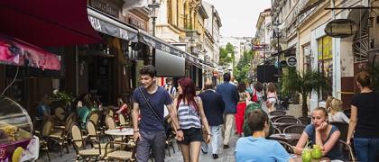 25 Jun 2014, Bucharest, Romania --- Bars and restaurants in Old Town, Centru Vechi, Bucharest, Romania, Europe --- Image by © Robert Mullan/incamerastock/Corbis